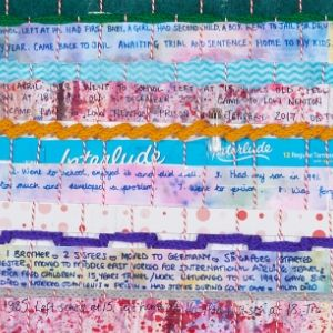 Stories about entrants lives woven into J cloth, sanitary item packaging, and painted paper from a Koestler Awards entrant from HM Prison & Young Offender Institution Low Newton.