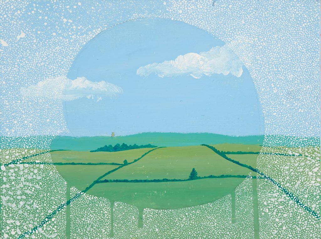 A painting of a green field and blue sky through a steamed-up window