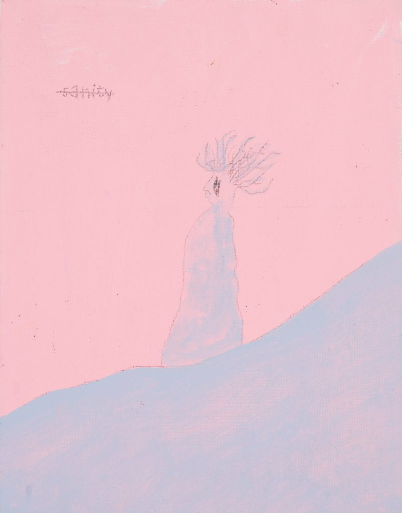 A painting of a blue figure on a blue slope against a pink background. The word 'sanity' is crossed out in the top left hand corner.