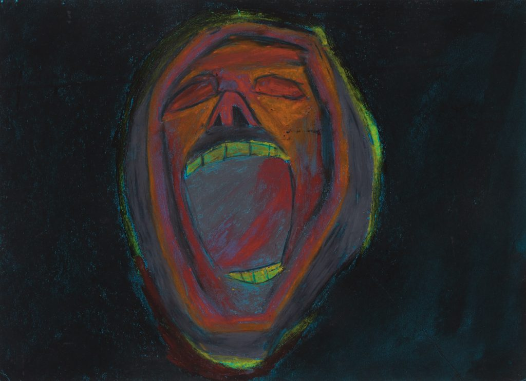 A portrait of an abstract face with a wide open mouth and eyes shut against a black background