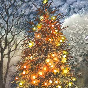 Tree Lights in Winter, HMP Whatton, Platinum Award for Hand-made Greetings Cards 2015