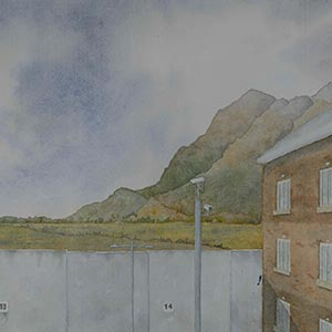 1314 - Towards Bannockburn from My Cell, HMP Glenochil, Babette Galberg Platinum Award for Watercolour and Gouache 2015