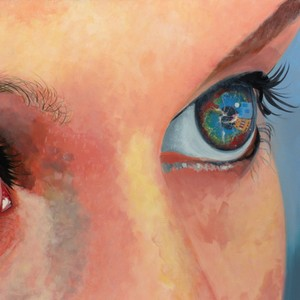 A painting of a blue and brown eye close-up
