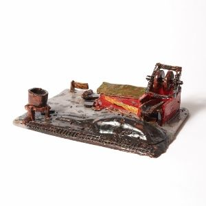Colourful glazed ceramic coal scene by a Koestler Awards entrant from HM Prison Dovegate.