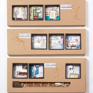 A 3D graphic novel with colourful scenes depicting 'The Misadventures of Woody' cut into cardboard by a Koestler Awards entrant from HM Prison The Mount.