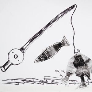 A print of a fishing rod with a fish on the end shaking and a fish that has managed to escape on white paper by a Koestler Awards entrant from HM Young Offenders Institution Polmont.