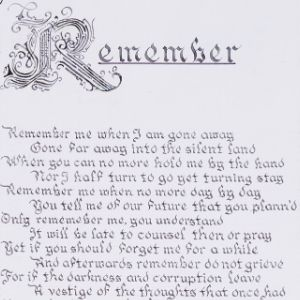 Writing titled 'Remember' written in calligraphy framed by Greek fluted columns and steps with Roman numerals by a Koestler Awards entrant from HM Prison Bure.