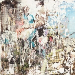 An ambiguous collage scene with layers and areas scratched or torn away by a Koestler Awards entrant from HM Prison Grendon.