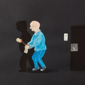 A painting of an elderly male prisoner cuffed to a shadow painted on black paper by a Koestler Awards entrant from HM Prison Littlehey.