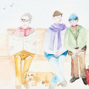 Three people sat on a bench with a dog at their feet and a red bag by a Koestler Awards entrant from HM Prison & Young Offenders Institution Low Newton.